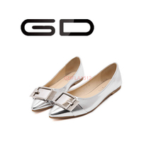 Cheap square buckle decorated flat shoes New styles ballerina flats for women Different style silver and gold flat shoes
