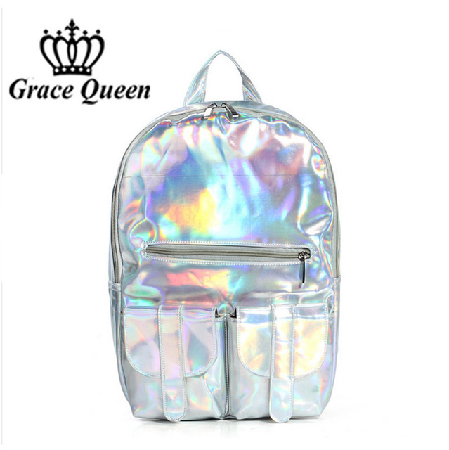 2016 Women Hologram Laser Leather Backpack Holographic Transparent Backpacks Sac a Dos School Bag For Teenagers Travel Rucksack