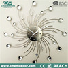 Design crystal diamond shaped wall clock, decoration mental wall clock