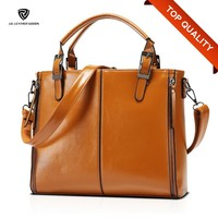 Brown Double Top Handles Striped Lady PU Hand Bag