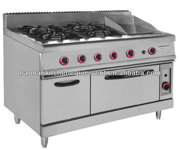 Commercial Gas Range with 4 Burner & Oven & Griddle For Hotel Project