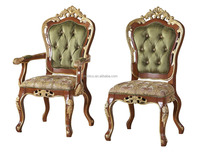 Antique Classic Palace Leisure Chair, Luxury Gold Painting Armed Chair, Carved Wooden Living Room Furniture