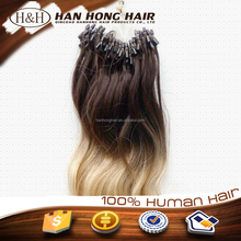 6a Grade Fashion Keratin Fusion Loop Tip Hair 100% Cheap Indian Remy Micro Loop Ring Human Hair Extension 0.9g