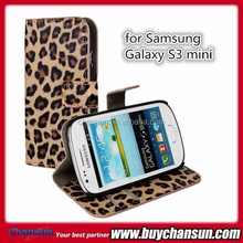 for Samsung Galaxy S3 mini leopard print leather case with wallet