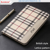 British Style Lattice Pattern Leather Cases For Apple iPad 9.7 Inch Slim Flip Smart Cover Cases For iPad