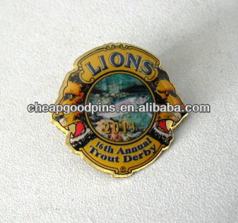 Gold brass lions offset printed pin