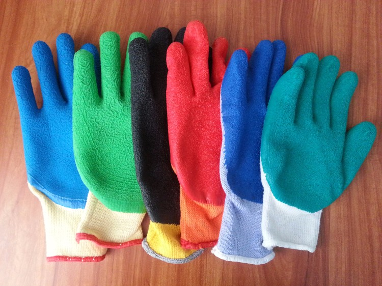 knitted Poly cotton line latex coated gloves/industrial heavy duty rubber gloves