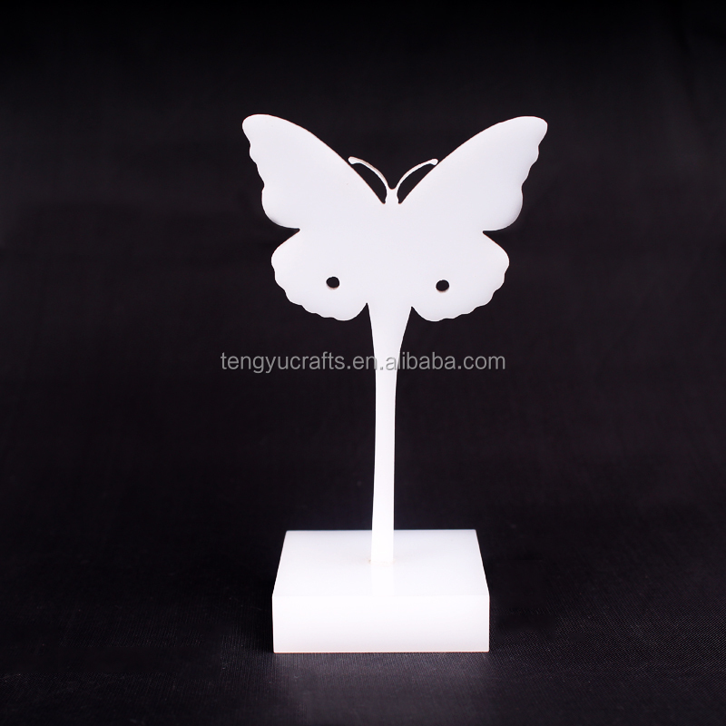 innovative jewelry <strong>retail</strong> counter display holder butterfly shaped white acrylic earring stand
