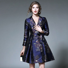 STKKOO Europe and America Women Fashion Lapel V Neck Sash Slim Waist Retro Flower Print Elegant A Line Jacauqrd Dress