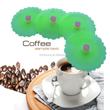 customized single logo dustproof silicone coffee cup lid set