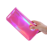 Zogift 2019 new arrival pink shiny cosmetic pouch luxury glitter lridescent makeup bag