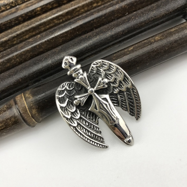 Mens Stainless Steel Antique The Sword Angel Wings Shaped Religious Necklace