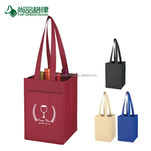 Wholesale High Quality Economical Customize Non-Woven 4 Bottle Wine Tote Bag