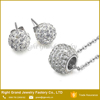 Clear Shamballa Crystal Jewelry Pendant Necklace And Earring Jewelry Sets