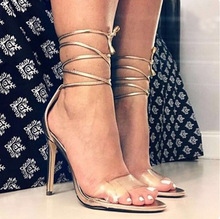 HFCS074 Beautiful cross straps woman sandals high heel gold transparent shoes