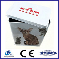 big square dog food tin box, pet food tin box packaging ,cat food tin can