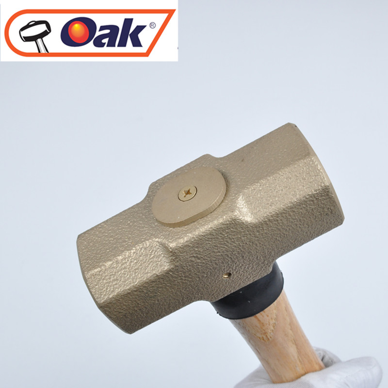 China tools high quality aluminium bronze hot sale non sparking safety forging sledge hammer with wooden handle