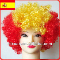 Spain Crazy Football Fans Wig Synthetic Party Wig DX-WG-0003