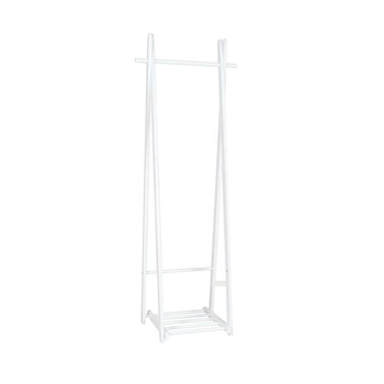 Modern Simple Folding Design Movable White Color Wooden Coat Stand With Storage Shelf