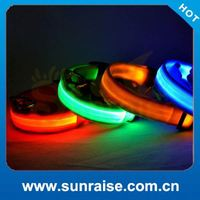 six colors four sizes 2.5cm width silk net three flashing mode safety small pet customized logo led dog collar