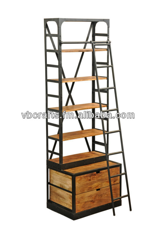 Industrial Bookcase Huge big size with ladder