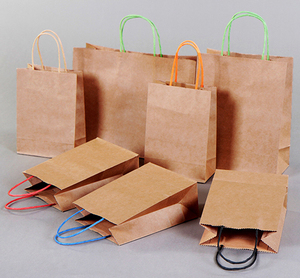 Kraft Brown Paper Bag With Colorful Twisted Handle Factory Outlet