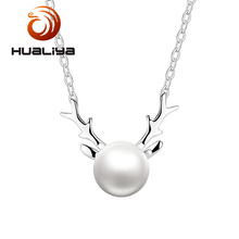Hot Product 925 sterling silver pearl necklace jewellery girlfriend heart pendant necklace Free sample