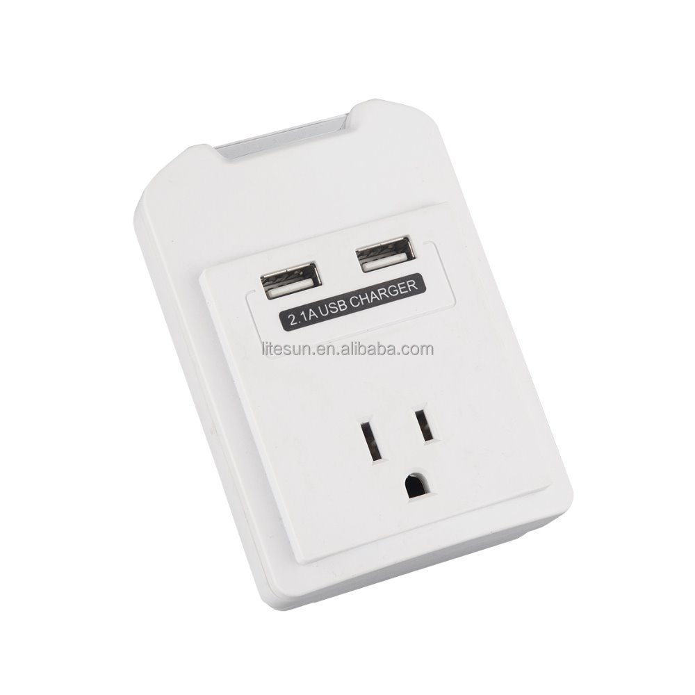 ETL US market Ningbo Litesun Electric current tap outlets surge protected wall tap with USB charging prots