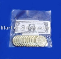 Custom paper currency with plastic coins and paper for printing US dollar for game