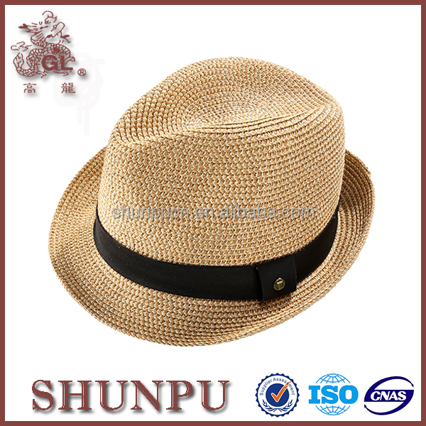 men folding paper straw fedora hats,natural straw hats