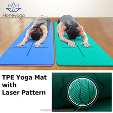 Light Weight Double Color Laser Engraving Alignment Guide Tpe Yoga Mat