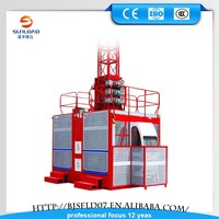 popular 1000kg rated load 12 passenger number 3*1.3*2.5 cage size passenger hoist safety device