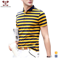 2017 Latest 100% Cotton Classical Short Sleeve Striped t shirts Wholesale Slim Fit Men's Polo t-shirt
