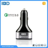 IBD 2016 new car charger 3USB interface QC3.0 car charge high efficiency fast safe for all cell phone