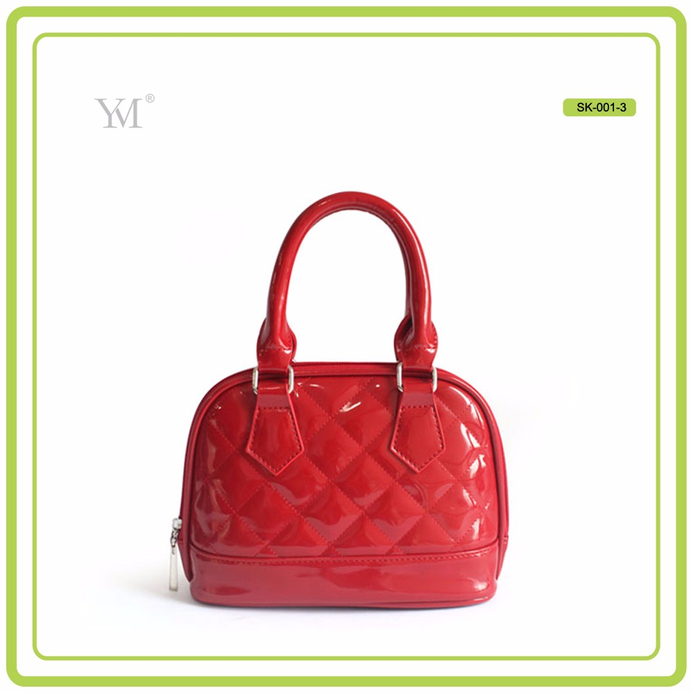 ladies fancy hand bags red color PVC leather with diamond pattern wholesale handbags 2016 fashion handbag