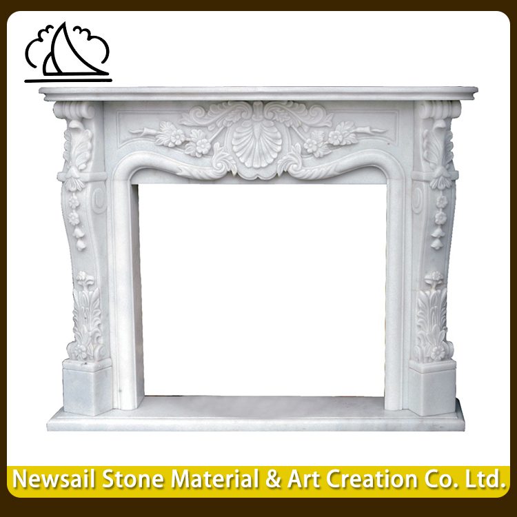 Fireproof Material Indoor Marble Column Fireplace / Fireplace Mantels