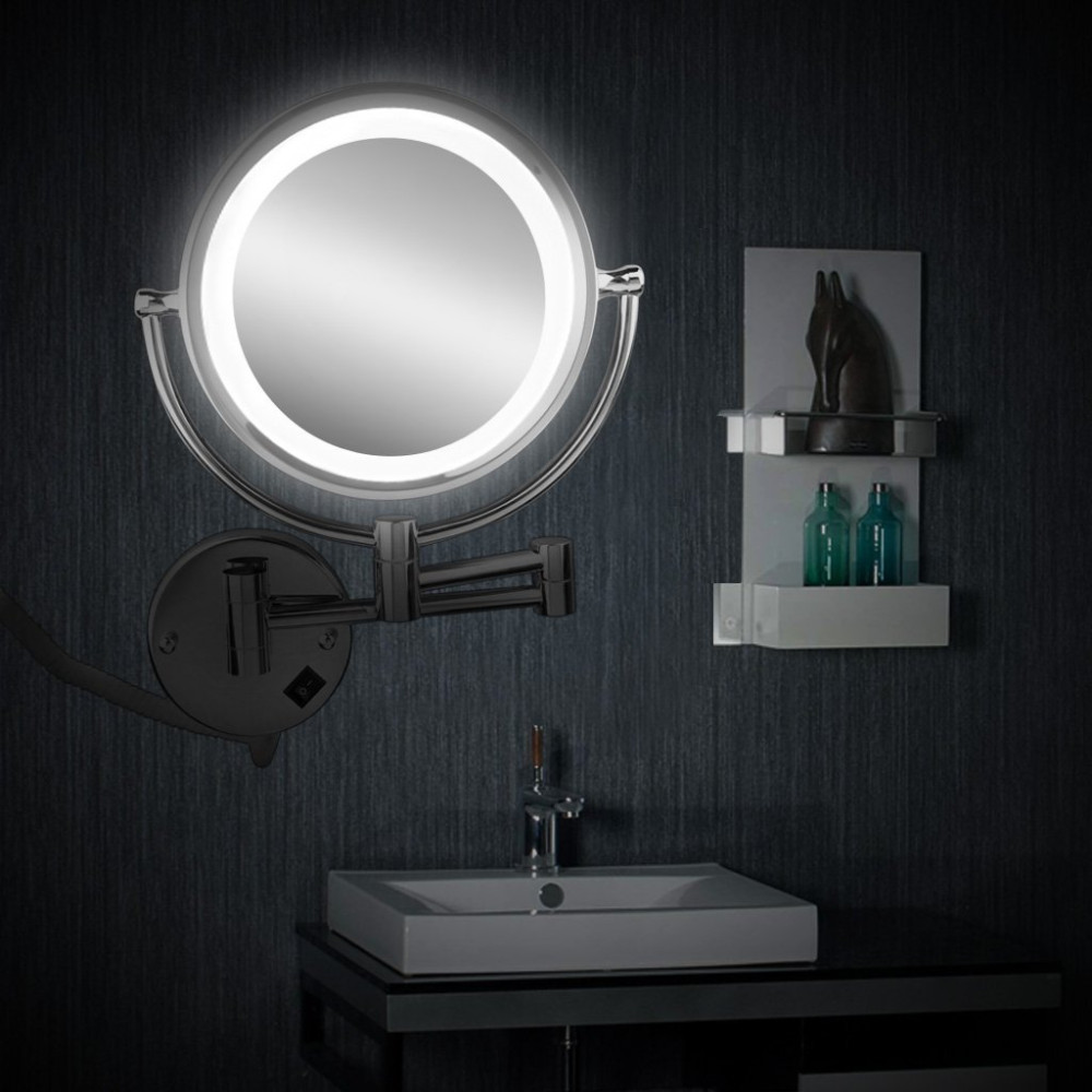 Wall Mounted Foldable Led Bathroom Makeup Magnifying Cosmetic Mirror