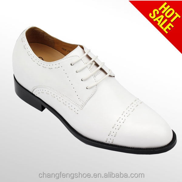 Top quality face leather handmade elevator dress shoes