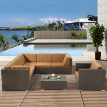 Outdoor Patio Garden Resin Plastic PE PVC Rattan Wicker Sectional Sofa Set