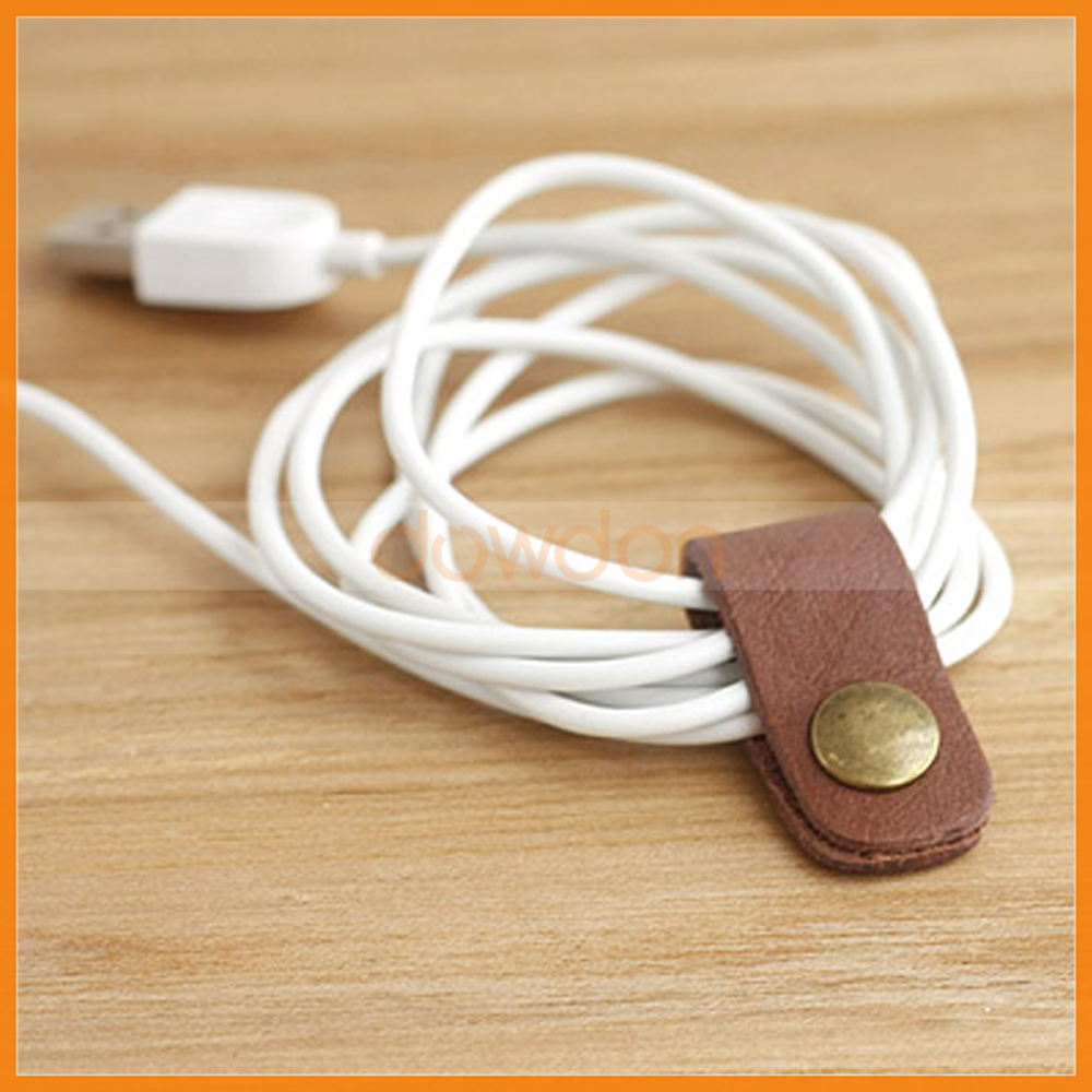 Lovely Design Leather Headphone Earphone Data Cable Organizer