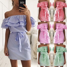 X62038A Casual Style Women's New Striped Dresses Sexy Ruffle Dress