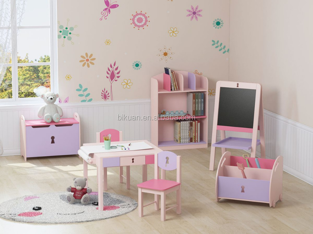 Modern daycare kids cartoon bedroom furniture set with table and chair andtoy box and bookcase and double easel