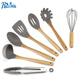 Chinese supplier offer 7 piece BPA free cooking tools silicone kitchen utensil set with bamboo handle