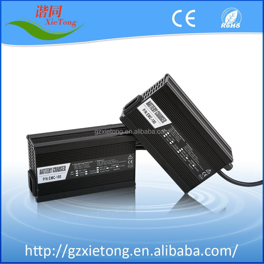 48V3A LiFePO4/Lithium Ion/Lead Acid Battery Charger For Electric Scooter & E-bike