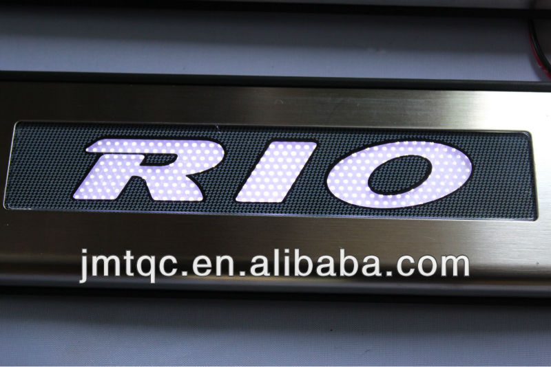 High quality stainless steel latest model inexpensive Door Sill Plate with LED for KIA RIO/K2