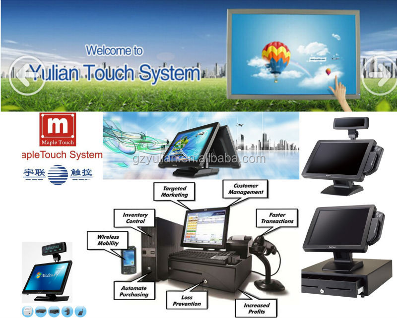 Alluminum All in one POS for retails shop, coffee shop and pizza store dual screens