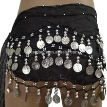 Bestdance Wholesale girls belly dance hip scarf belt skirt gold silver coins