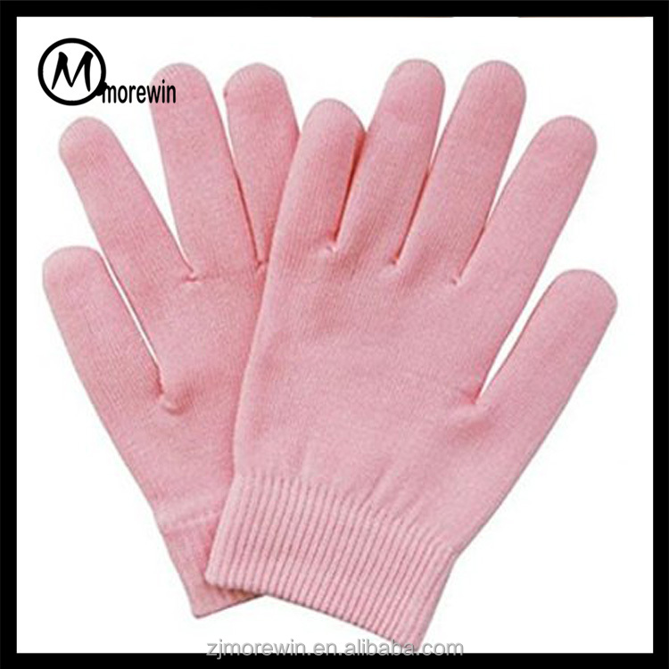 2016 Morewin Spa Moisturizing Gel Pink Gloves Skin Care Manicure Kit Moisturizing Silicone Gel Spa Slaon Gloves