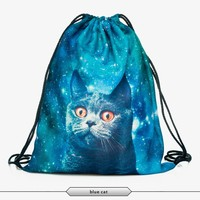 mesh drawstring bag mint flower backpack drawstring bag 3D print manufacturers high quality promotion custom tote sports bags