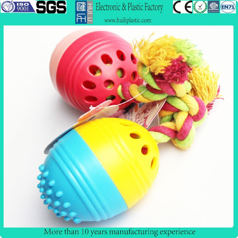 colorfull dog rope toy with plastic ball/dog toys rope for training/rope toys for dogs
